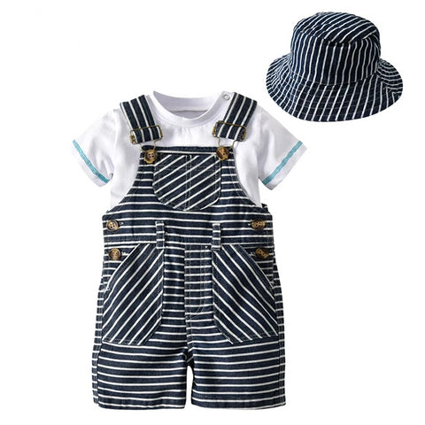 kids 1-3 year Baby Clothes Cotton Boys Suit Sets white t-shirt + Striped Hat + Overalls Outfits Set Casual children Boy Clothes