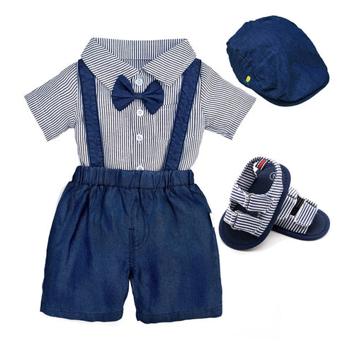 baby boy clothing shirt and suspender shorts newborn baby boys set t-shirts romper pants clothes set for boys summer suit 4pcs