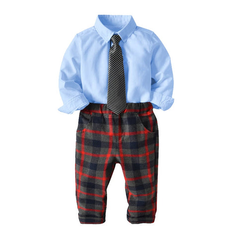 Boy clothing sets blue tie shirt and plaid pant children 2-7 year wear new autumn long sleeve gentleman suit boys clothes