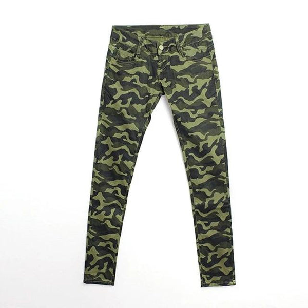 Army Green Camouflage Cropped Jeans Women`s Big Size Military Stretchy Capris Pants For Woman