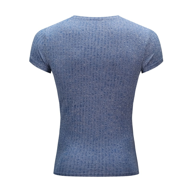 Summer Men's T-shirt Sweater O-Neck Slim Fit Knittwear Mens Short Sleeve Pullovers Tshirts Men Fitness Pull Homme