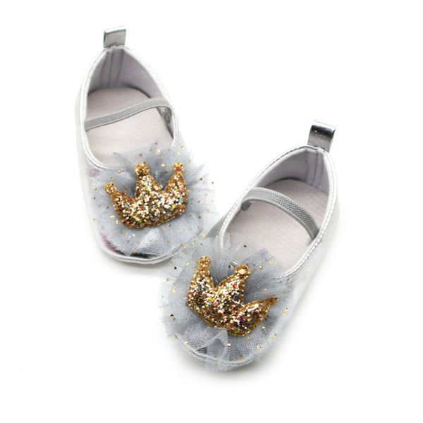 Newborn Sequin Crown Princess Shoes for 0-18 Months First Walkers Baby Girl Shoes Soft Anti-Slip Crib Shoes