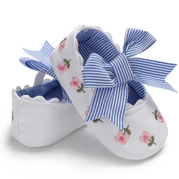 Newborn Baby Girl Flower Sneakers Casual Shoes Infant Cotton Bow Little Girls Princess Sequin Stars Toddler Leather Shoes 0-18Ms