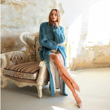 Blue Coat Long Winter Real Fur Coat Women Natural Mink Fur Coat With Belt Femme Casual Clothing X-Long Solid