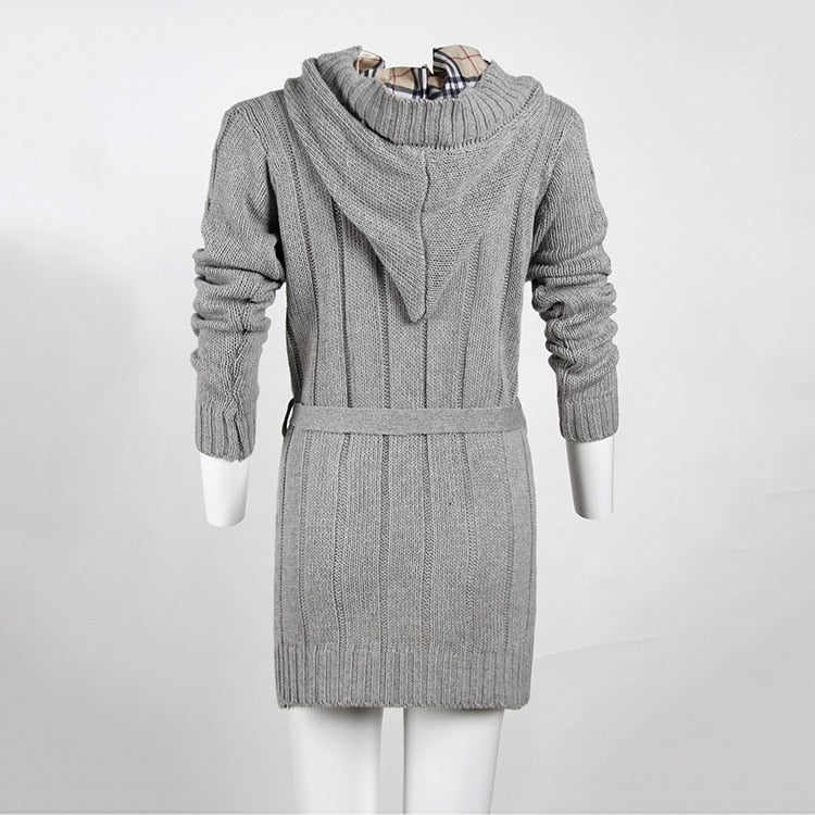 Women Long Cardigan sweater Women Solid Color With Pocket Foreign Trade  Hooded Knitted women\u0027s sweaters Vestidos