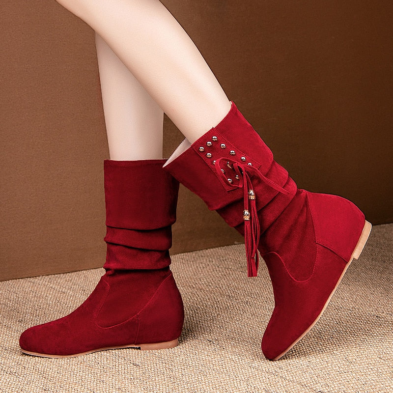 New arrival women ankle boots flock rivet tassel autumn winter boots casual flat shoes ladies big size 33-52