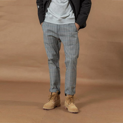 Autumn Winter New Smart Casual Plaid Pants Men Straight Ankle-Length Trousers Loose Plus Size Fashion Pant