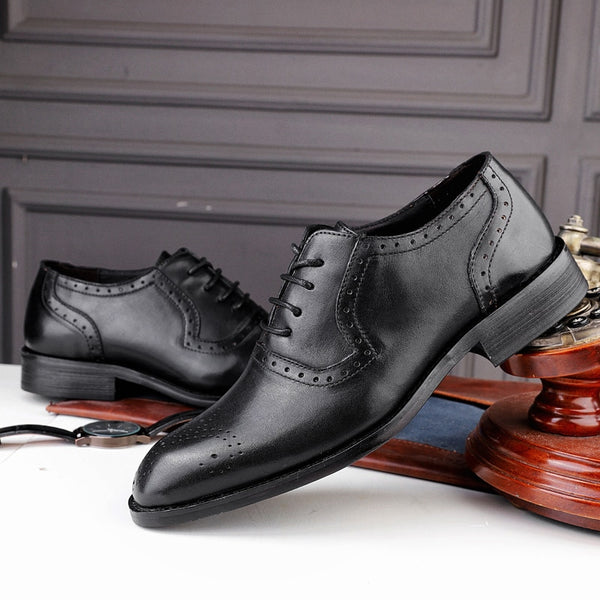 Fashion men's shoes dress genuine leather cow office classic Retro brogue shoes for men big size 47 wedding formal shoe man