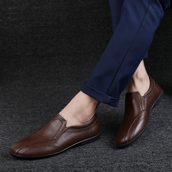 Genuine Leather Casual Men Shoes Fashion Men Flats shoes Round Toe Comfortable Office Men Dress Shoes men