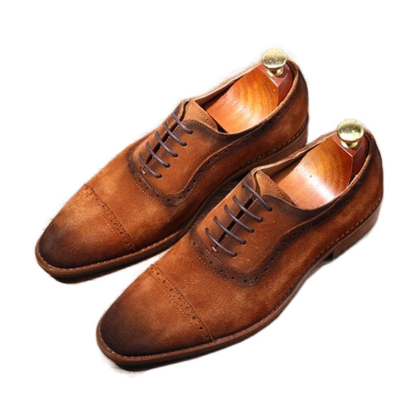 Hand-stitched Cowhide Genuine Leather Men Shoes Pointed Toe Dress Shoes Men Brown Lace-u[ Business Chaussures