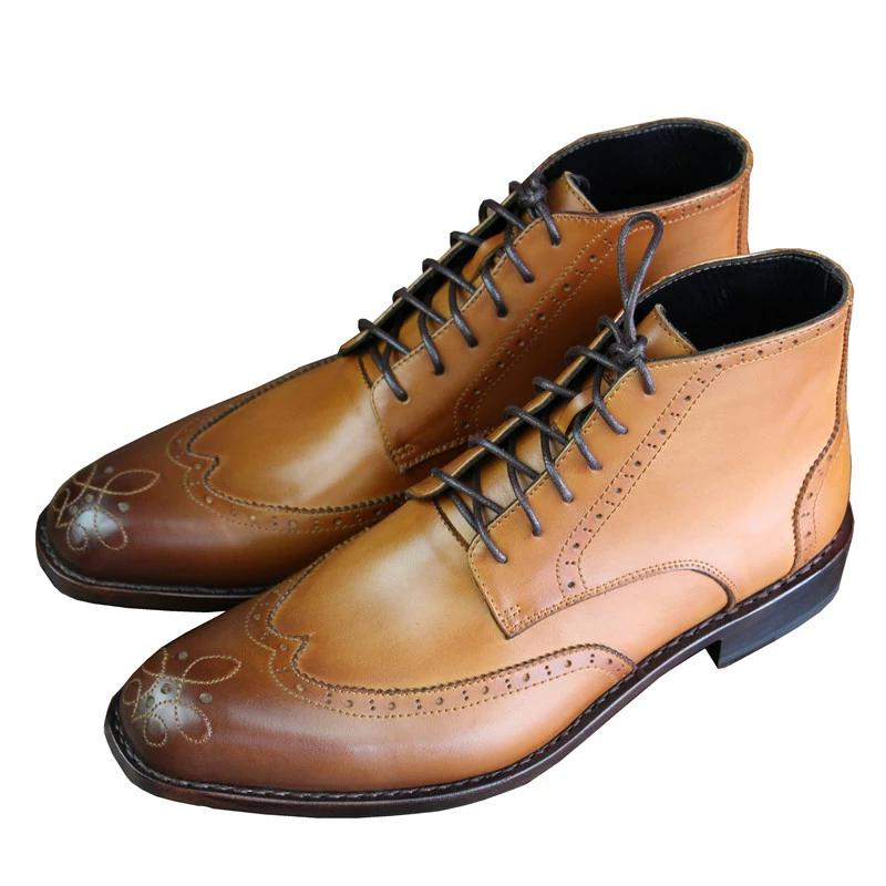 Custom Handmade Italian Brogue Style Ankle Boots Shoes Genuine Cow Leather Lace Up Short Boots With Goodyear Handcraft