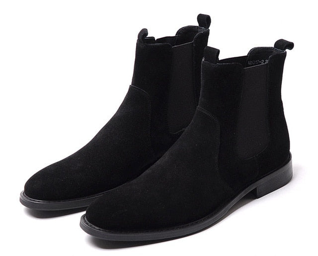 Suede Chelsea Boots Men Ankle Genuine Leather Mens Black Boots Leather Slip On High Quality Men Dress Boots Shoes