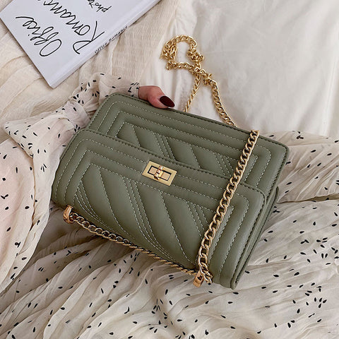 Version of Occidental Chain Small Square Baggage Fashion Inclined Embroidery Line Single Shoulder Bag