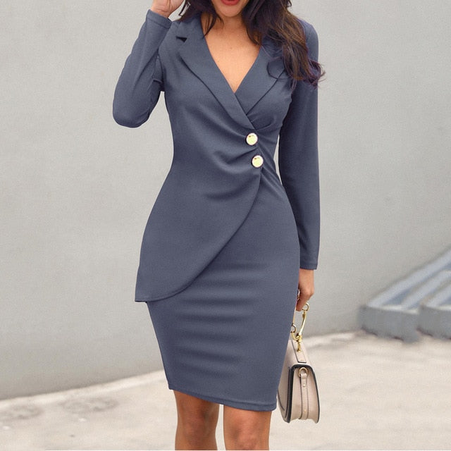 Autumn Dress Women Office Lady Sexy Solid Turn Down Neck Long Sleeve Buttons Bodycon Work Formal Dress Free Ship
