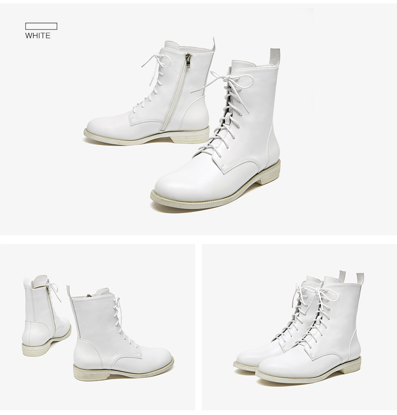 Ankle Boots Women Genuine Leather Lace-Up Side Zipper Top Quality Autumn Winter Lady Shoes Handmade