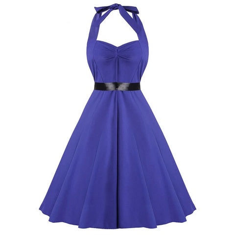 2XL Women Vintage Sexy dress Sleeveless Halter Evening Party Swing Dress High Tie Waist Elegant Woman Dresses 2 Colors
