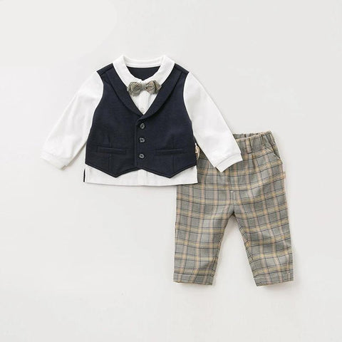 Autumn baby boys handsome clothing sets  long sleeve pants  plaid suits children  clothes 2pcs