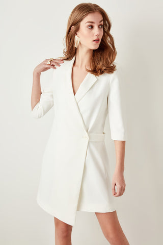 Detailed display Waist Ivory White Office Lady Dress Jacket