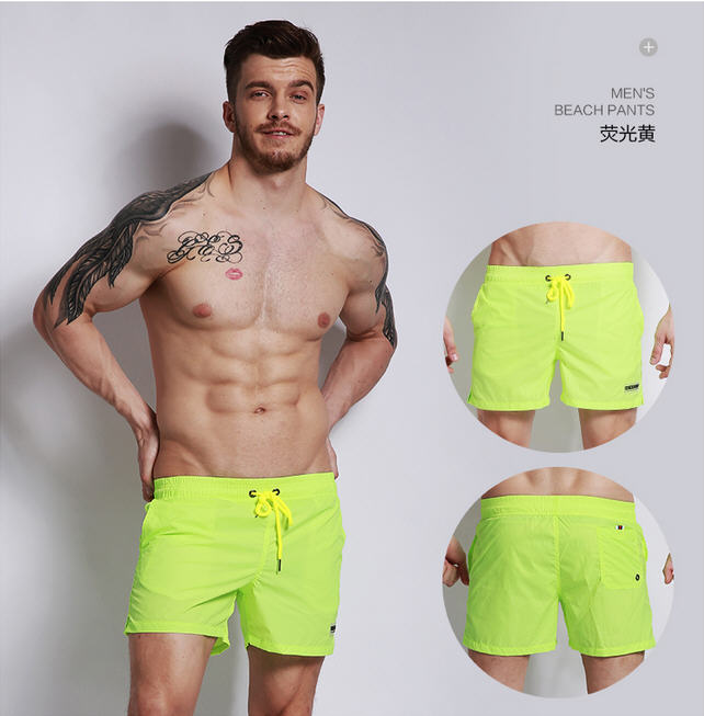 Quick Dry Beach Shorts Mens Candy Colors Jogger Short Boardshort Bermuda Masculina Board Short Swimwear Swimming Trunks A1705