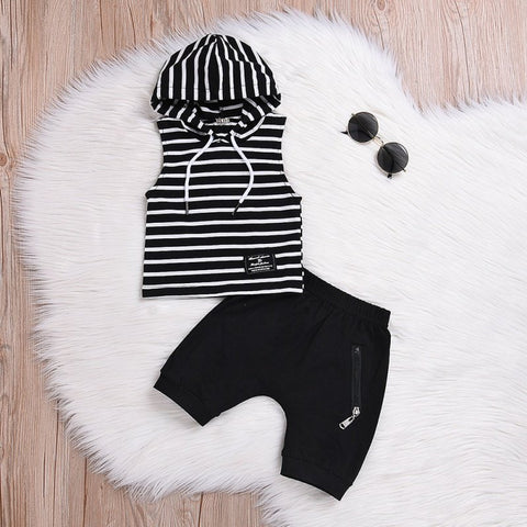 Kids Baby Boy Clothes Set Casual Clothing Set Summer Newborn Striped Infant Clothes Sets Hooded Toddler Baby T-shirt Pants