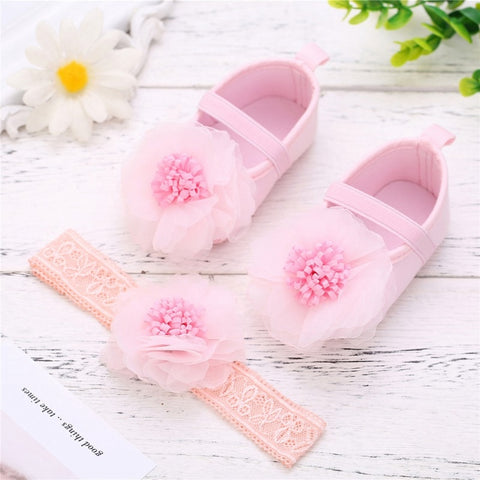 Infant Princess Shoes Soft Sole Crib Shoes First Walkers Set Summer 2pcs New Toddler Baby Girls Lace Flower Shoes Headband