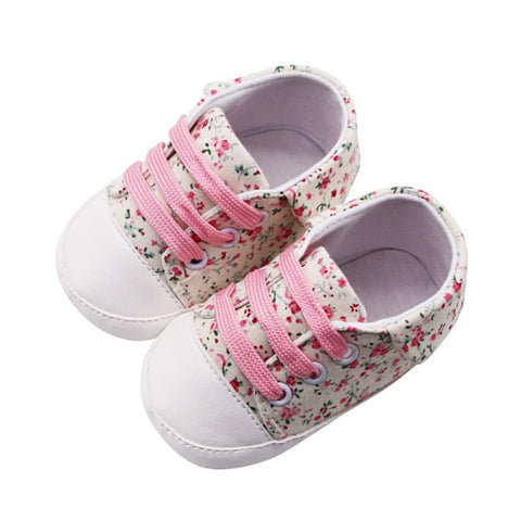 Newborn Baby Girl Pram Canvas Shoes Casual Infant Soft Comfortable Lace-Up Cute Trainer 0-18M Toddler Floral Sneakers