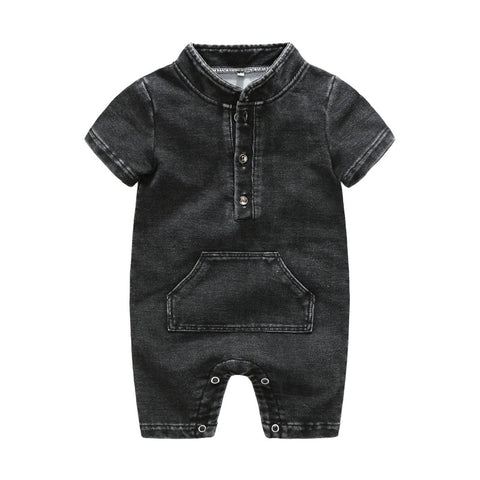 Baby Boy Clothes Baby Rompers Cowboy Pocket Handsome Jeans Baby Clothes 2018 Newborn Jumpsuit Summer Boys Cowboy Rompers