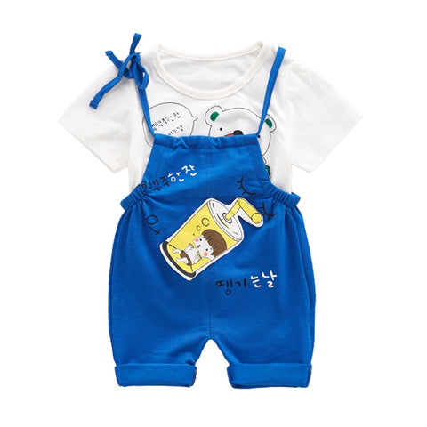 Cotton Toddler Baby Girl Clothes Sets 2pcs Kids Clothing Baby Boys Sets Short Sleeve Children Suit T-Shirt+Shorts Overalls 0-3T