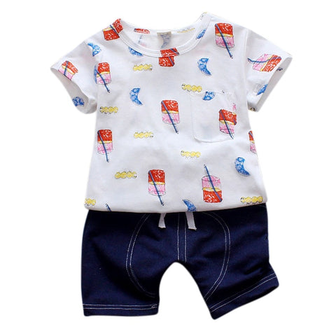 Cartoon Tops+Denim Shorts Children Tracksuit for Boys Sets Infant Kids Shorts Suits Summer Baby Girls Clothes Sport Suits