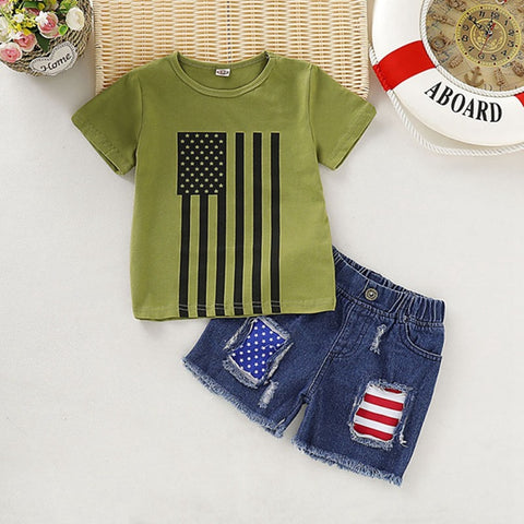 Baby Clothes Summer Baby Costume Set Boys Girls Casual Short Sleeve Star Striped Print T-shirt Tops+Denim Shorts