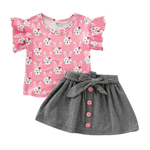 Baby Girls Suit Set Toddler Baby Girls Flare Sleeve Rabbit Tops T-shirt+Skirts Kids Casual Outfits Set 1-4T