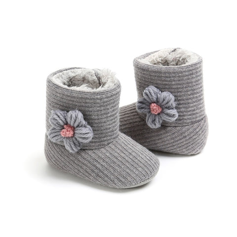 Baby Boots Newborn Winter Shoes Plus Velvet Knitted Wool Soft Bottom Toddler Warm Boots Flowers Baby Boots Girl