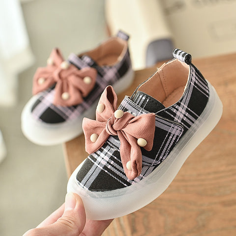 Girls Sport Shoes Kids Shoes Children Fashion Sneakers Baby Anti Slip First Walkers Kid Sneakers Casual Plaid Girls Flat Shoes