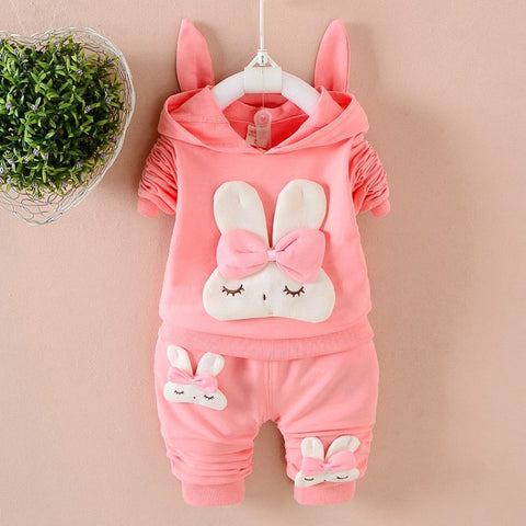 New Autumn Baby Long Sleeve Clothes Set Baby Girl Cute Rabbit Pattern Long Sleeve Suit Children Clothing