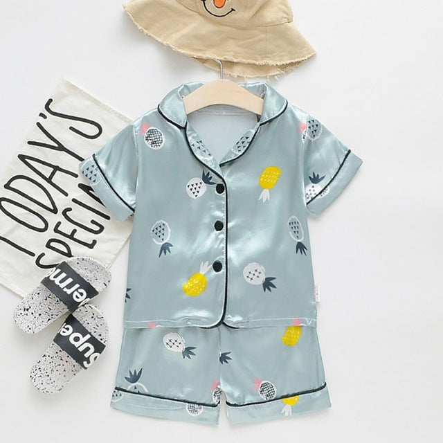 Summer Children Homewear Kids Girls Pajamas Sets Baby Nightwear Girl Boys Shirt Pant Set Casual Sleepwear