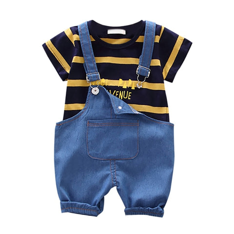 Summer New Baby Boys Clothing Sets Short Sleeve Stripe Girls Tops Blouse Shirt+Denim Suspender Pants Baby Casual Outfits
