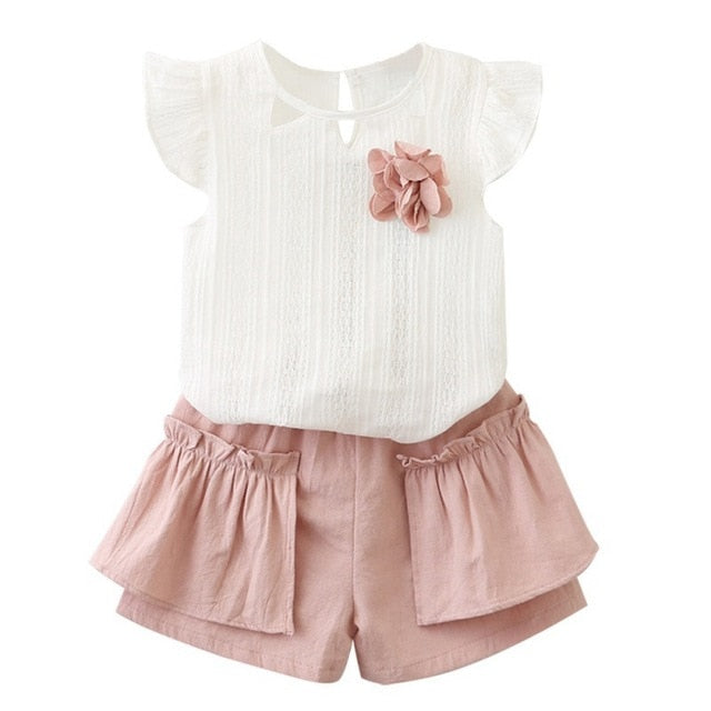 2pcs Cute Flare Sleeve Baby Solid Print T-shirt Tops+Shorts Suit Kids Clothes Set Girls Clothes