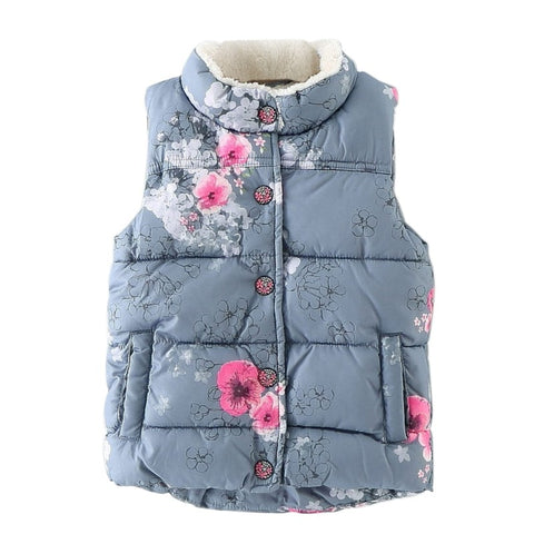 Cotton Warm Girls Vest Floral Baby Girls Waistcoat Thick Toddler Kids Vest Girls Jackets Outerwear Winter Children Clothing