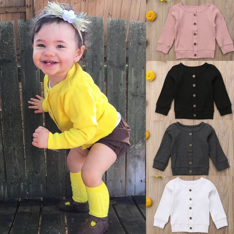 Child Sweater Baby Girls Knit Cardigan Jacket Toddler Sweater Kids Coat Ruffles Casual Jacket Children Clothes