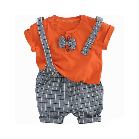 Kids Boys Casual Bow Tie T-Shirt Tops+Plaid Shorts Overalls Toddler Outfits Sports Outwear Newborn Baby Boy Clothes