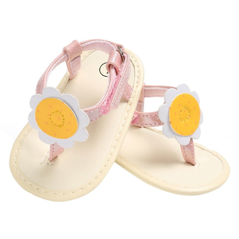 Sandals Baby Girl Shoes Leather Rubber Flat Shoes Sandals With Big Flowers Baby Shoes Sandals For 0-18 Months