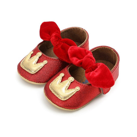 Crown Soft Sole Newborn Baby Girls Sneaker Prewalker Baby Bow Baby Shoes Infant First Walkers