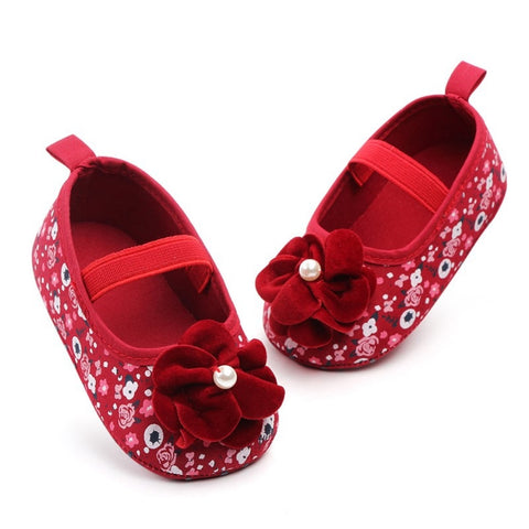 Infant Toddler Princess Floral  Prewalkers Anti-skid Mary Jane Crib First Walkers Newborn Shoe Spring Autumn Baby Girls Shoes