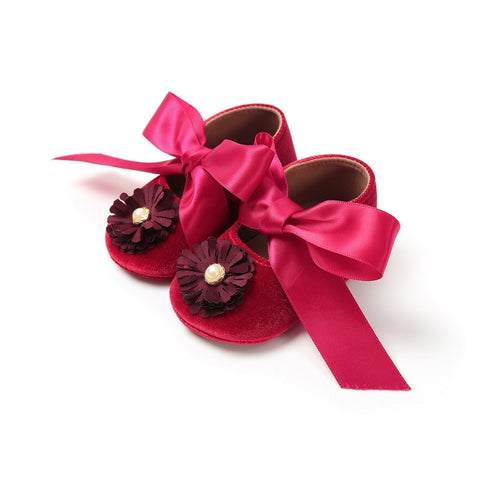 Newborn Baby Shoes Bow First Walkers Baby Princess Soft Sole Anti-Slip Shoes Infant Big Bow Shoes Autumn