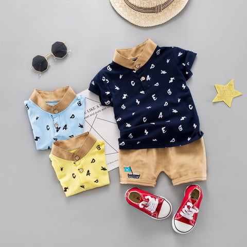 Kids Clothes 0-4T Children Clothing Set Baby Boys Casual Outfits Suit Letter Print Tops Shirt+Shorts Pants