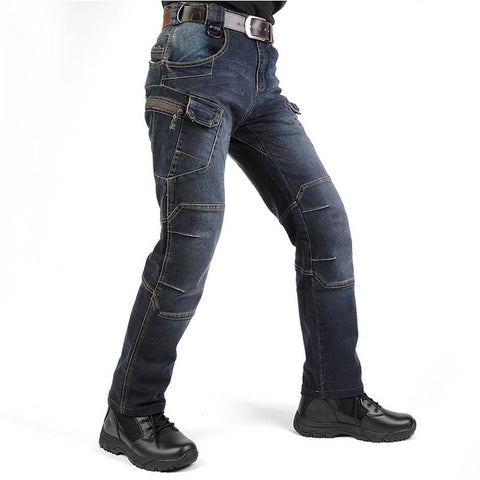 Men's Cargo Casual Jeans Pants With Multi-pockets Motorcycle Denim Trousers Military Style For Men's Outdoor Jeans Blue