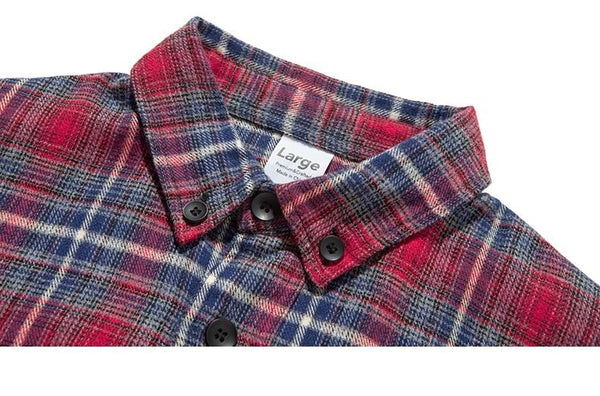 Autumn Men Checked Shirt Long Sleeve Oversized Men Plaid Shirt Streetwear Mens Loose Fit Cotton Shirt