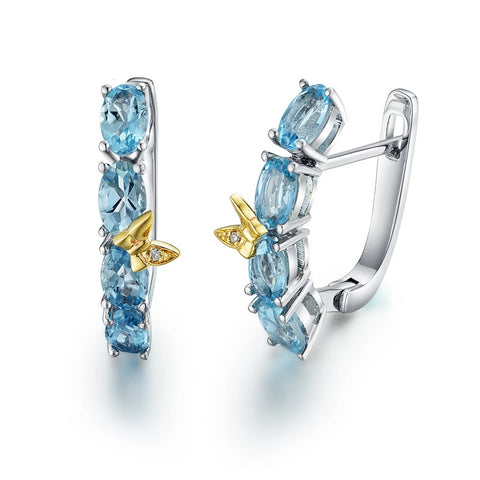 "New 14k white  gold clasp earrings natural aquamarine ""dragonfly"" natural diamond fashion fine jewelry for girl"