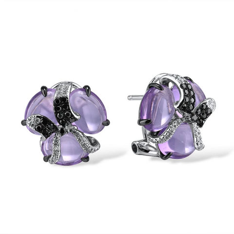 Gold Earring For Women Pure 14K 585 White Gold Shiny Diamond Black Diamond Limpid Amethyst Classic Earrings Fine Jewelry