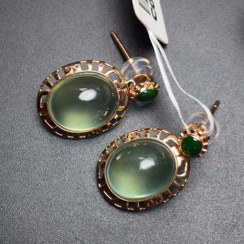 Fine Jewelry Collection Real 18K White Gold AU750 100% Natural Prehnite Gemstone  Origin Drop Earrings for Women